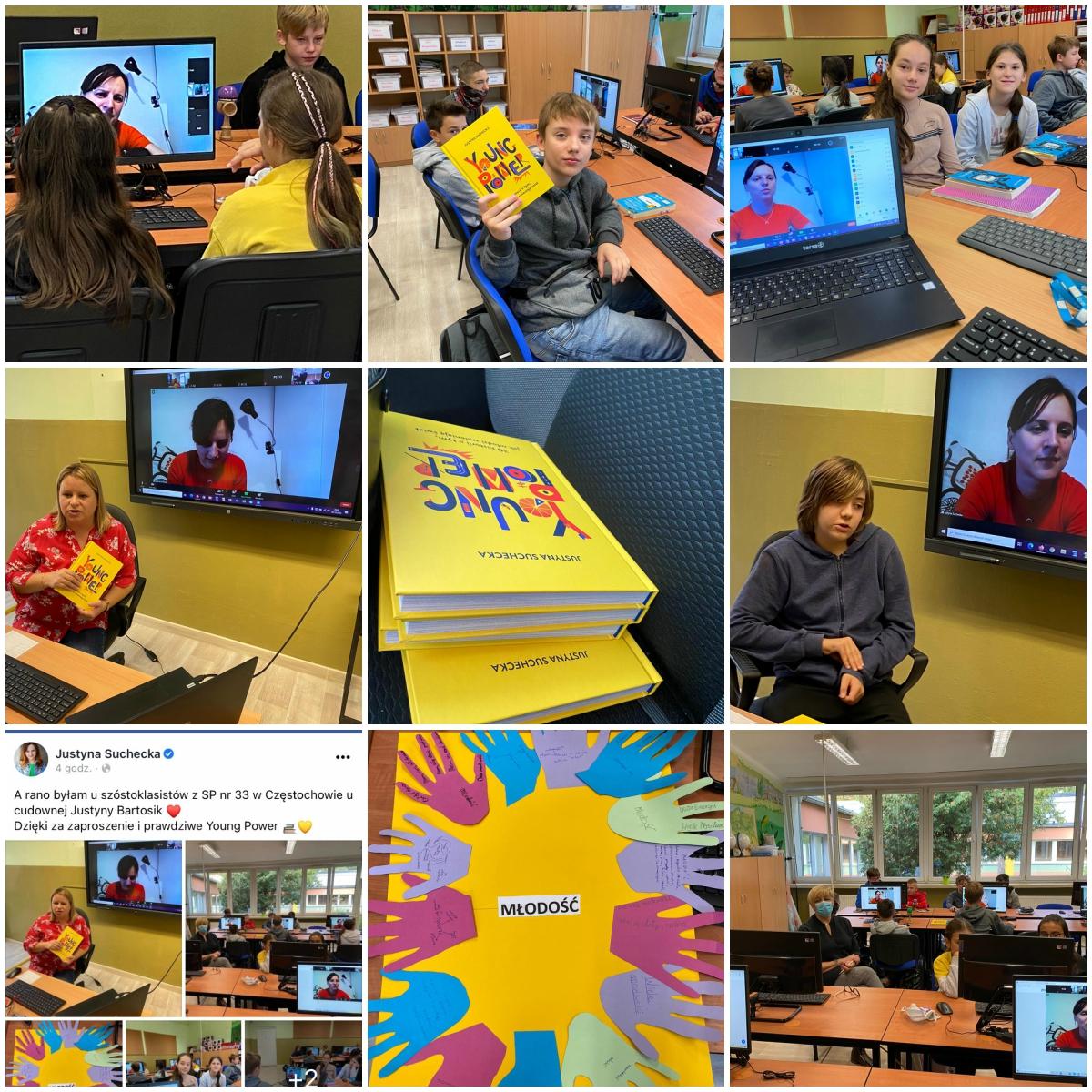 Collage zezdjęć zespotkania uczniów klasy 6d zp.J. Suchecką
