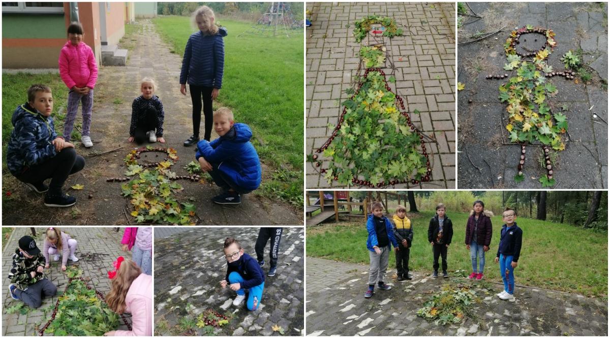 Pani jesień - prace uczniów klasy 3b wykonane zelementów naturalnych