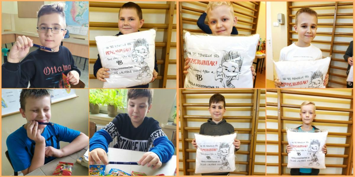 collage zezdjęć uczniów zprezentami, które otrzymali zokazji Dnia Chłopaka