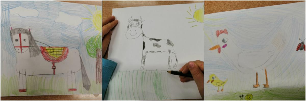 prace rysunkowe uczniów przedstawiające zwierzęta gospdarskie