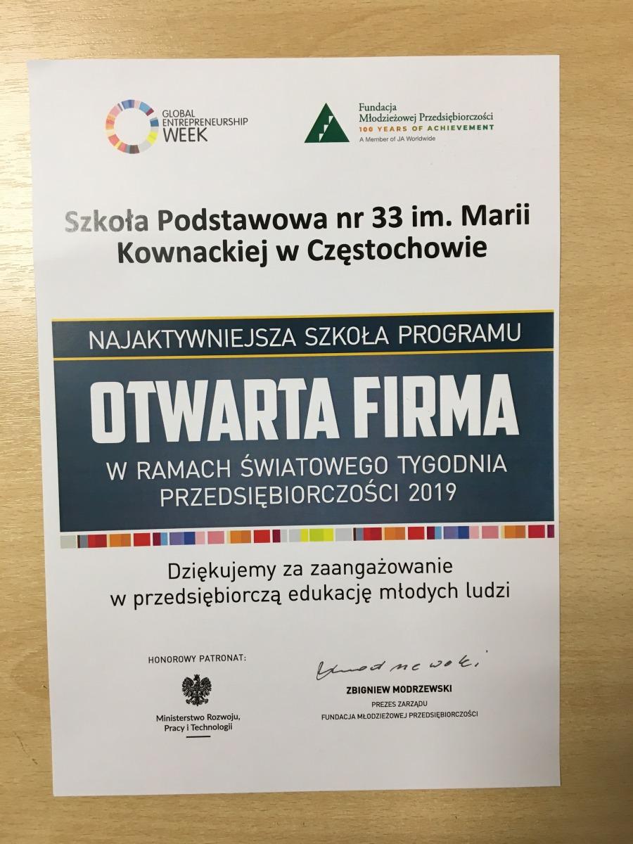 Dyplom dla Najaktywniejszej Szkoły wprogramie Otwarta firma - 2019r.