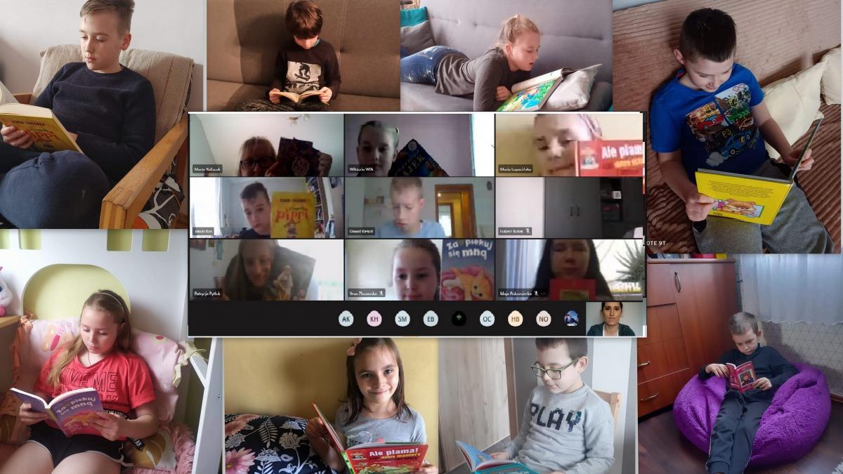 1_kolaż zdjęć uczniów klasy 3b czytających książki